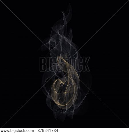 White Cigarette Smoke Waves. White Hot Steam Over Cup For Dark. Transparent Special Effect Of Hot St