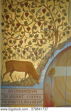 ZAGREB, CROATIA - NOVEMBER 26, 2014: The hind drinks at the source of life, fresco in the church of Corpus Domini in Zagreb, Croatia