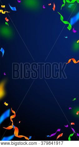 Streamers And Confetti. Festive Streamers Tinsel And Foil Ribbons. Confetti Vignette On Dark Blue Ba