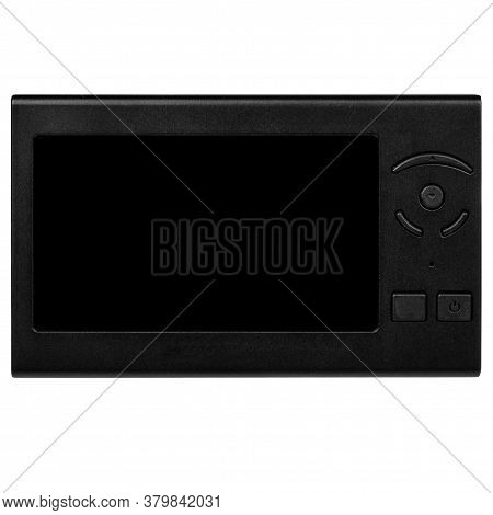Large Wireless Digital Gadget With Blank Touchscreen And Black Control Buttons In Side View On White
