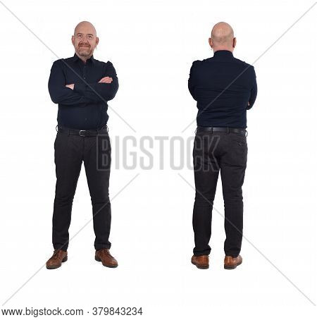 Front And Back Of  Full Portrait Of A Man On White,