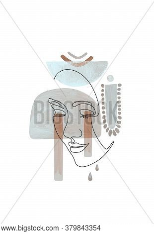 Face Line Art, Abstract Boho Shapes. Woman Line Drawing. Modern Female Poster.  Neutral Gray Pastel
