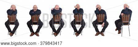 Bald Man Sitting On White Background On White Background