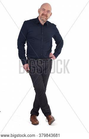 Full Portrait Of Man Standing On White Background,