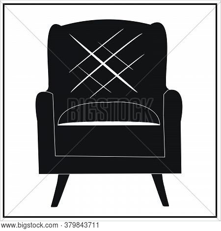 Black Chair From The Set Of Beautiful Fashionable Plain, Black And White, Gray And Black Velvet Armc