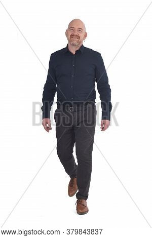 A Man Walking On White A White Background