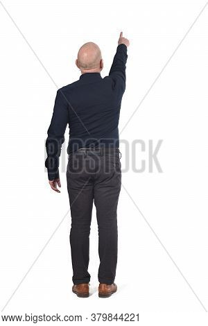 A Man Pointing On A White Background