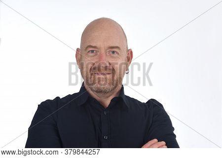 Portrait  Of Bald Man On White, Smiling