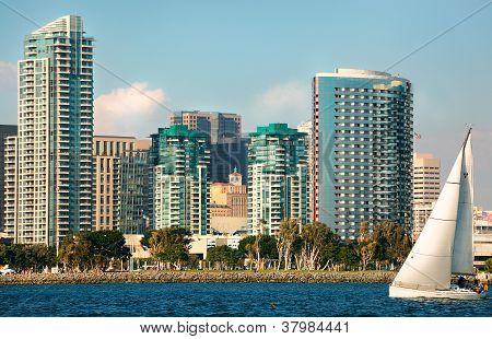 Skyline Cityscape of Downtown San Diego, California from Coronado Island