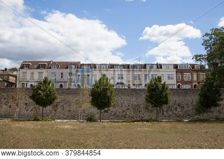Multi Coloured Terraced Houses On The Town Wall At West Quay In Southampton, Hampshire In The Uk, Ta
