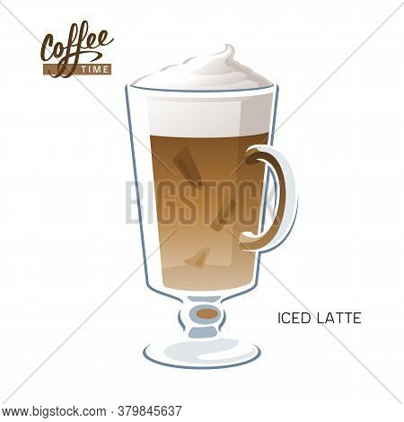 Glass Cup Iced Coffee Latte Macchiato Vector Illustration