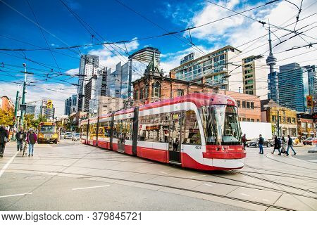 Toronto, Canada-Oct 24, 2019: New Bombardier-made TTC streetcars on the King street in Toronto. Canada.