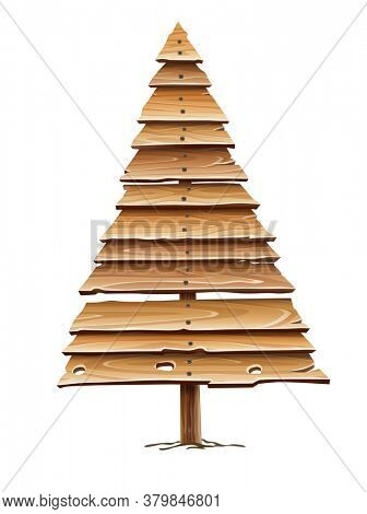 Christmas firtree for holiday made of old wooden board planks. Idea design for Vintage retro hand-made decoration. Isolated on white transparent background. 3D illustration.