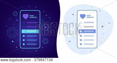 Wishlist Vector Concept With Black And White Background, Dark Ultra Violet Neon Glowing Thin Icon An