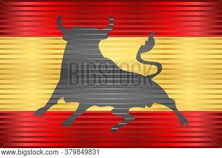 Shiny Flag Of Spain With An Osborne Bull - Illustration,  Three Dimensional Flag Of Spain
