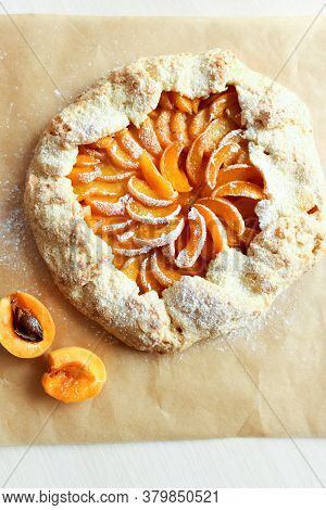 Galette Tart Pie With Fresh Apricot. Open Pie With Apricots. High Quality Photo
