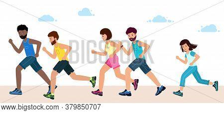 Men, Women And Children, In Sports Clothes, Run A Marathon.