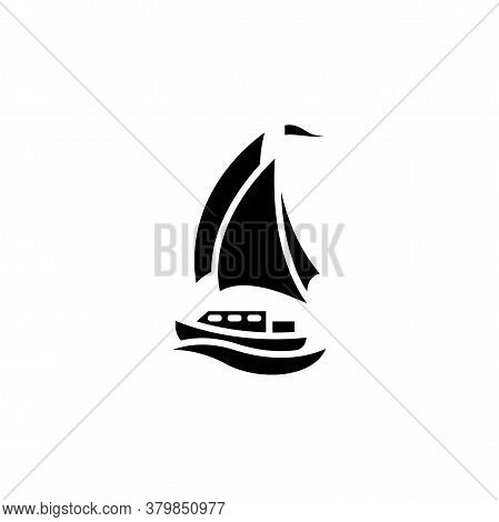Yacht Vector Icon. Sail Yacht Sign. Sailboat Symbol. Boat Ship Simple Logo Black On White.