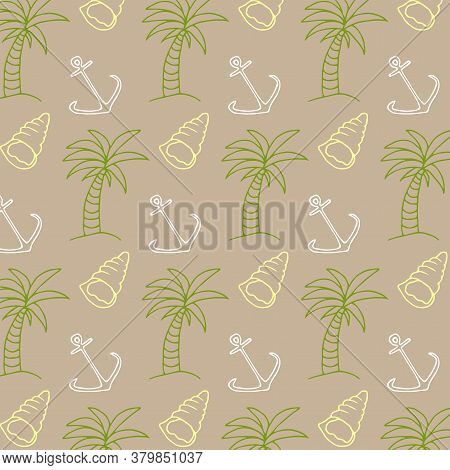 Line Art Palm Pattern For Textile Design. Beautiful Palm Pattern, Great Design For Any Purpose. Seam