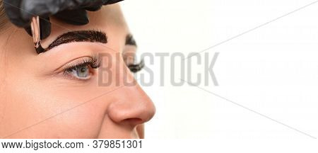 Young Woman Doing Henna Eyebrow Coloring In Beauty Salon On White Background