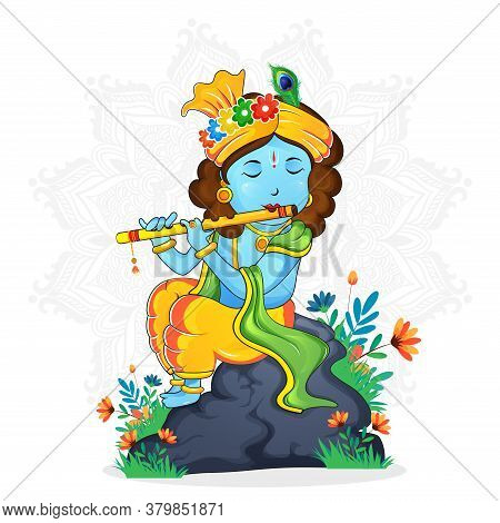 Illustration Of A Cute Lord Krishna Playing Flute On White Mandala Background, Sign Of Peace And Lov