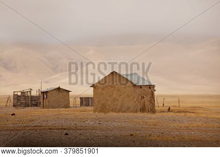 Authentic huts in african desert, Namibia