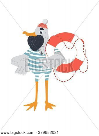Vector Hipster Sailor Seagull With Beard And Lifebuoy In Stripped Swimming Suit. Tattooed Seagull In