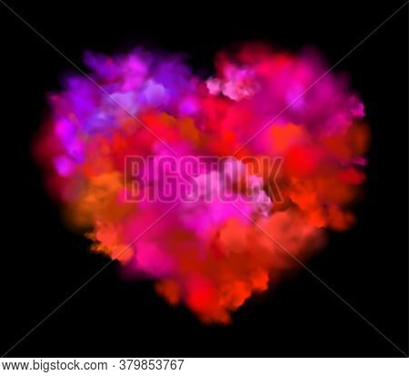 Colorful Powder Explosion Effect On Black Background. Pink Heart.