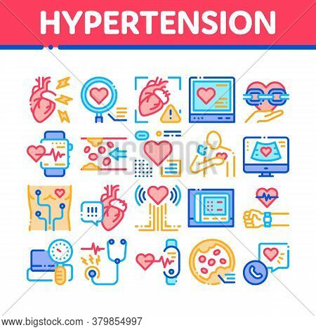 Hypertension Disease Collection Icons Set Vector. Hypertension Ill And Treatment, Heart Research And