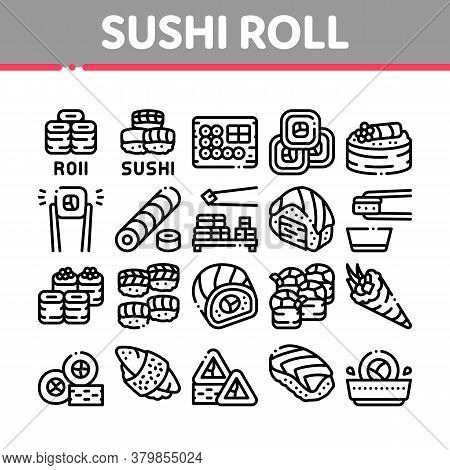 Sushi Roll Asian Dish Collection Icons Set Vector. Sushi Roll Set Japanese Traditional Food Cooked F