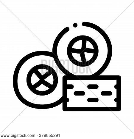 Sushi Roll Tasty Lunch Icon Vector. Sushi Roll Tasty Lunch Sign. Isolated Contour Symbol Illustratio