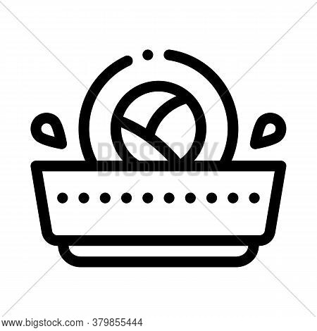 Sushi Roll In Sauce Icon Vector. Sushi Roll In Sauce Sign. Isolated Contour Symbol Illustration
