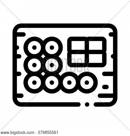 Sushi Roll Set On Desk Icon Vector. Sushi Roll Set On Desk Sign. Isolated Contour Symbol Illustratio