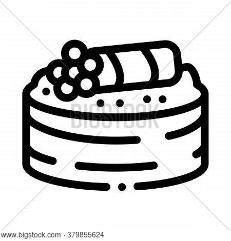 Sushi Roll With Caviar Icon Vector. Sushi Roll With Caviar Sign. Isolated Contour Symbol Illustratio