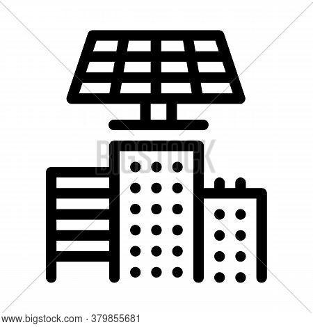 Smart City Solar Energy Icon Vector. Smart City Solar Energy Sign. Isolated Contour Symbol Illustrat