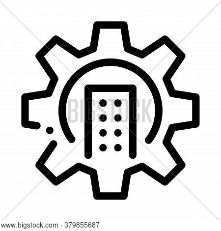Smart House Mechanical Gear Icon Vector. Smart House Mechanical Gear Sign. Isolated Contour Symbol I