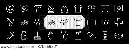 A Simple Set Of Medicine Icons, Contains Medicine Icons, Pills, Related Vector Line Icons. Thin Line