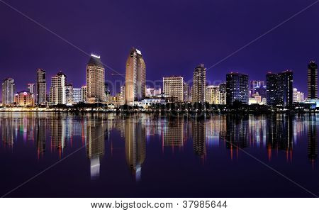 Downtown Cityscape with Buildings Reflecting in San Diego Bay. San Diego, California USA
