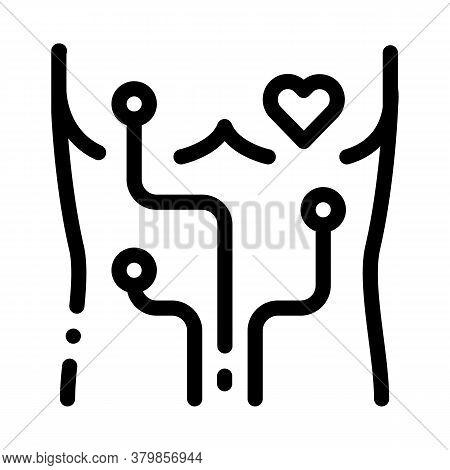 Heart Disease Exclamation Mark Icon Vector. Heart Disease Exclamation Mark Sign. Isolated Contour Sy