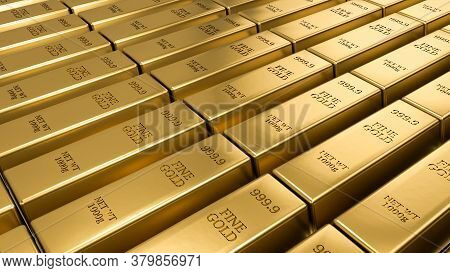 Gold Bars Stacked In The Warehouse. Financial Concepts. Many Gold Bars. Macro View Of Stacks Of Gold