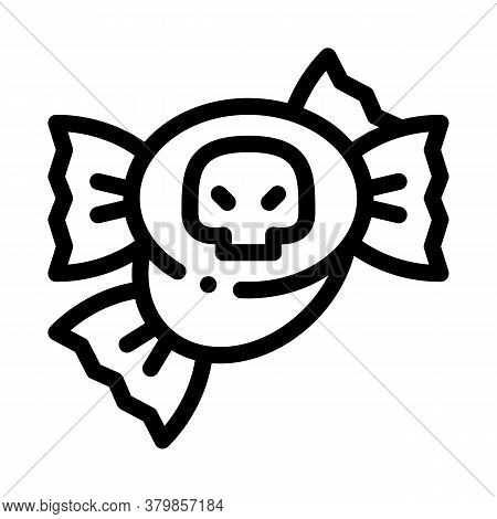 Halloween Candy Icon Vector. Halloween Candy Sign. Isolated Contour Symbol Illustration