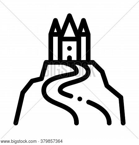 Castle On Hill Icon Vector. Castle On Hill Sign. Isolated Contour Symbol Illustration