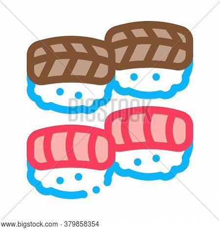 Sushi Roll Seafood Icon Vector. Sushi Roll Seafood Sign. Color Symbol Illustration