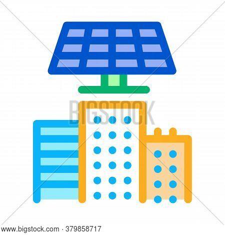 Smart City Solar Energy Icon Vector. Smart City Solar Energy Sign. Color Symbol Illustration
