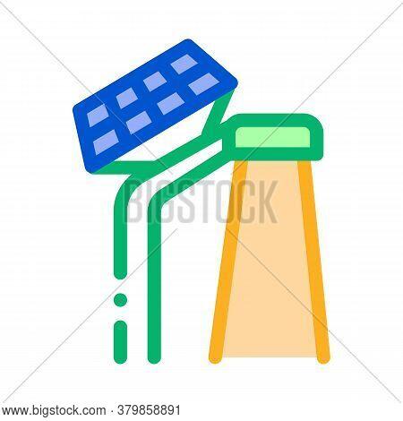 Smart City Solar Battery Icon Vector. Smart City Solar Battery Sign. Color Symbol Illustration