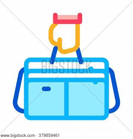 Hand Holding Case Icon Vector. Hand Holding Case Sign. Color Symbol Illustration
