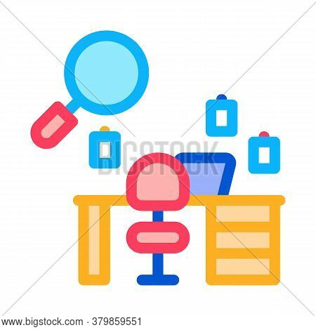 Office Workplace Research Icon Vector. Office Workplace Research Sign. Color Symbol Illustration
