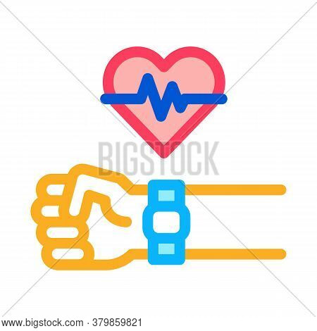 Watch Measuring Heartbeat Icon Vector. Watch Measuring Heartbeat Sign. Color Symbol Illustration