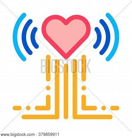 Heart Beat Examination Icon Vector. Heart Beat Examination Sign. Color Symbol Illustration