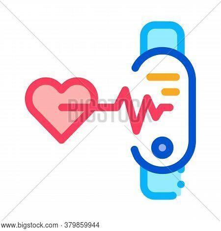 Fitness Bracelet Heart Beat Icon Vector. Fitness Bracelet Heart Beat Sign. Color Symbol Illustration